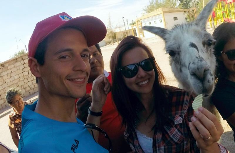 Selfie com Lhamas no Povoado Toconao, Deserto do Atacama