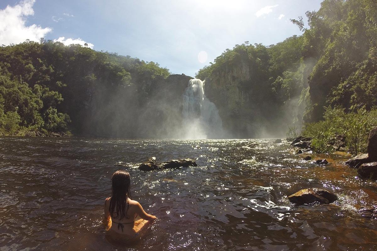 Salto de 80 metros do Rio Preto na Chapada dos Veadeiros
