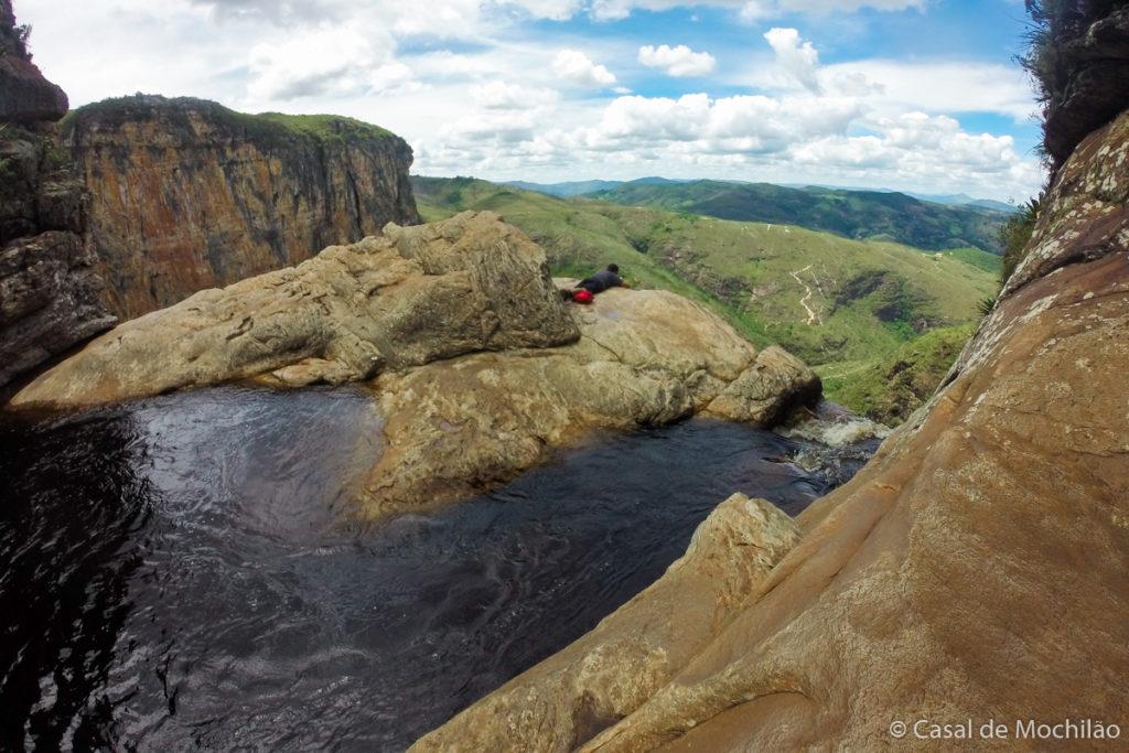 Garganta ou topo da cachoeira do Tabuleiro em Minas Gerais