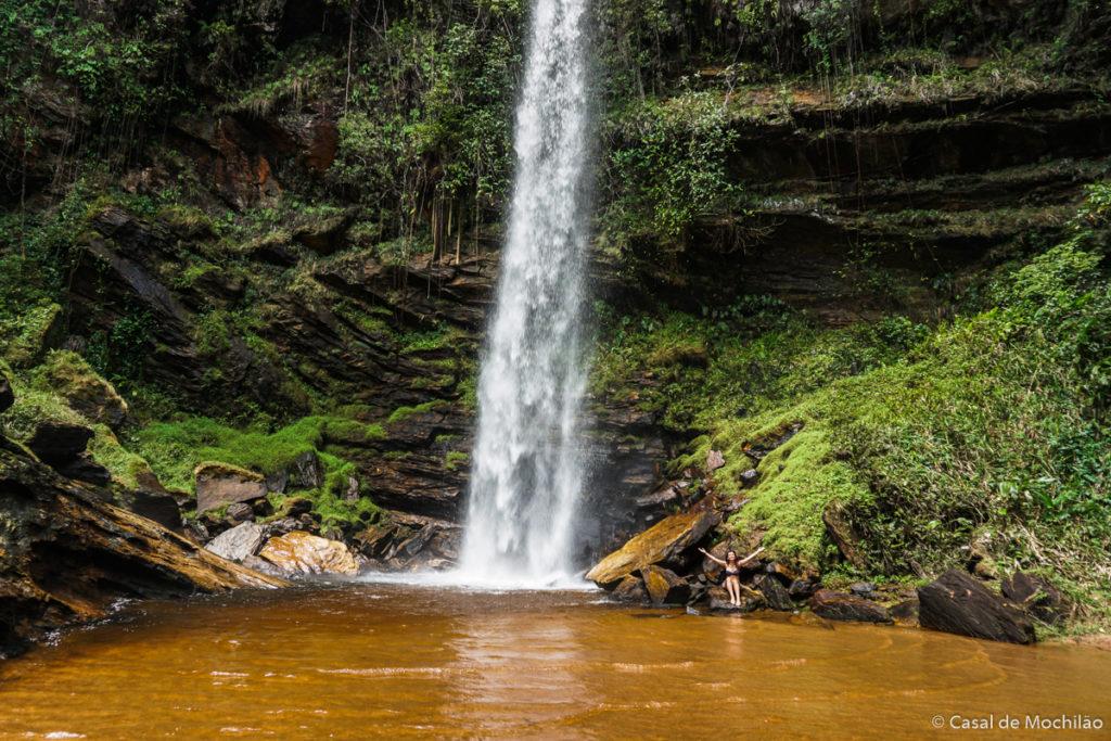 Cachoeira do Alto no Complexo da Cachoeira do Arco-íris em Lima Duarte, Minas Gerais